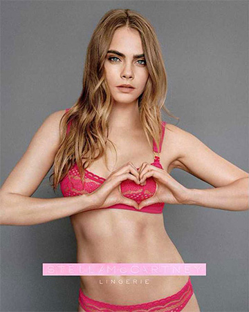 Cara Delevingne models the Stella Mccartney Breast Cancer Awareness Alina Playing Soft Cup Bra for Net-A-Porter