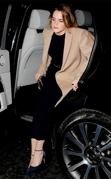 Emma Watson spotted in London on December 8 wearing in a Gabriela Hearst Long-sleeve Ribbed Dress.