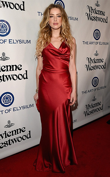 Vivienne Westwood Red Label stretch-satin gown as seen on Amber Heard