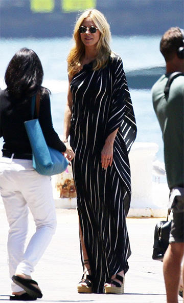 Halston Heritage One-Shoulder Draped Striped Dress as seen on Heidi Klum