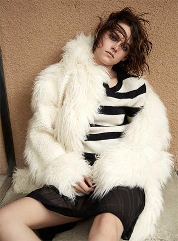 Stella McCartney Ramona Faux Fur Coat as seen on Kristen Stewart