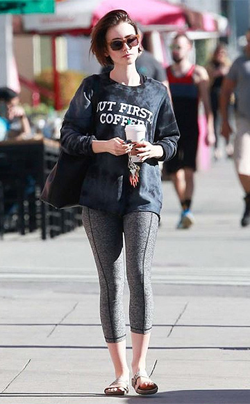 """Tyler Jacobs """"But First, Coffee"""" Billie Long Sleeve Tee as seen on Lily Collins"""