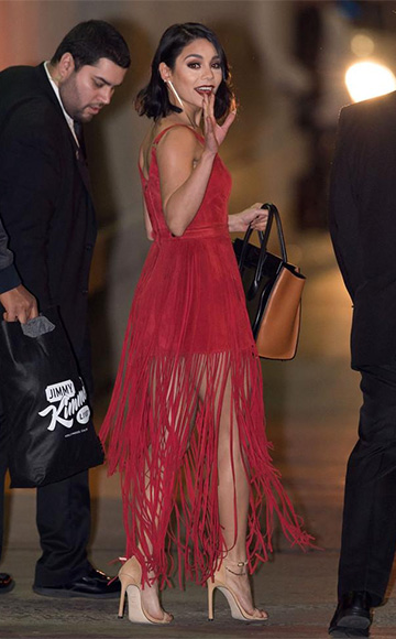 Tamara Mellon Fringed Suede Dress as seen on Vanessa Hudgens