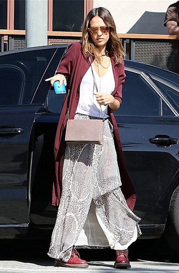Isabel Marant Sesley Printed Wrap Maxi Skirt as seen on Jessica Alba