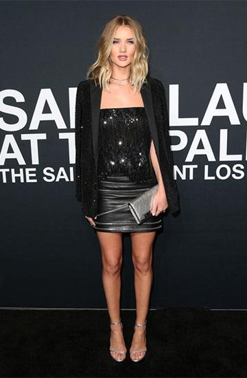 Saint Laurent Zipped Leather Mini Skirt as seen on Rosie Huntington-Whiteley