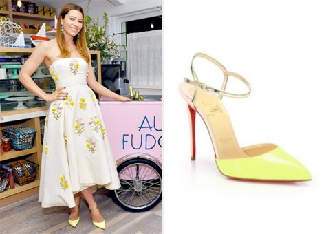 Jessica Biel  Yellow Christian Louboutin Colorblock Ankle-Strap Pumps