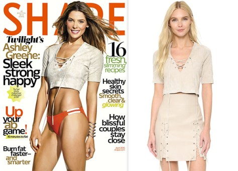 Ashley Greene in Theperfext Stretch Suede Crop Top for Shape Magazine April 2016