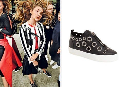 Gigi Hadid Giuseppe Zanotti Grommet Sneakers x Vogue March 2016