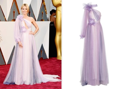 Marchesa Tulle Grecian Gown with Flowers as seen on Heidi Klum