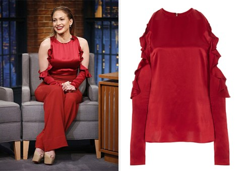 Cushnie et Ochs Ruby Silk Charmeuse Cold Shoulder Top as seen on Jennifer Lopez