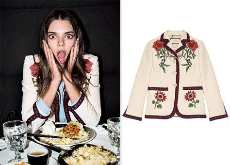 Gucci Floral Embroidered Cotton Jacket as seen on Kendall Jenner in Vogue April 2016