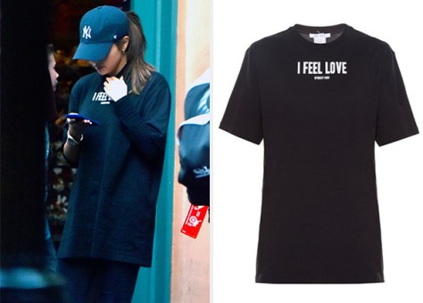Givenchy I Feel Love Oversized T-Shirt as seen on Selena Gomez