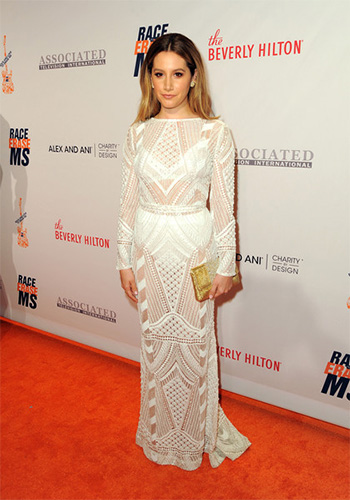 Balmain Long-Sleeved Crochet Gown as seen on Ashley Tisdale