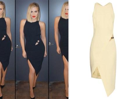 Mugler Cut-out asymmetric-hem crepe dress as seen on Khloe Kardashian