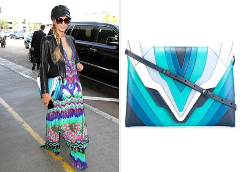 Elena Ghisellini Blue Panelled Shoulder Bag as seen on Paris Hilton