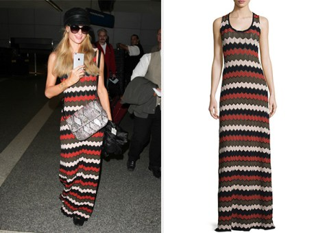 ALC Miles Sleeveless Zigzag Maxi Dress as seen on Paris Hilton