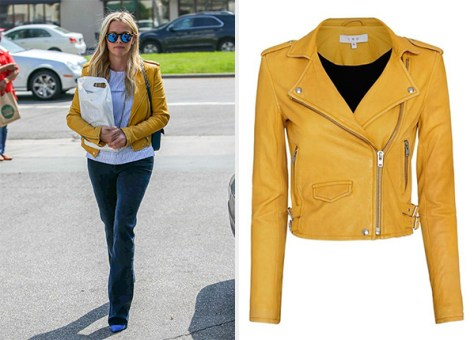 IRO Ashville Biker Yellow Leather Jacket as seen on Reese Witherspoon