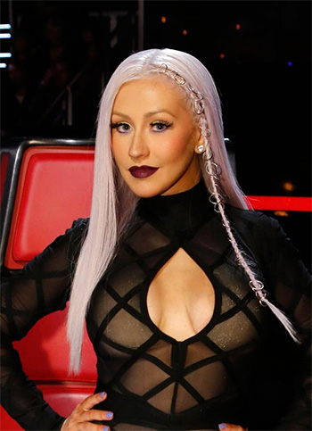 House of CB Sana Bandage And Sheer Mesh Maxi Dress as seen on Christina Xtina Aguilera on The Voice