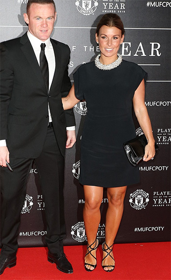 Balenciaga Embellished Crepe Dress as seen on Coleen Rooney at the 2016 Manchester United's Player Of The Year Awards