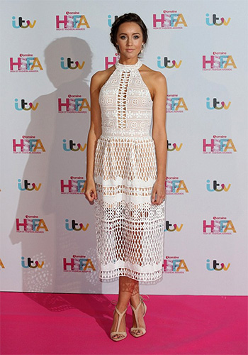 Emily MacDonagh in Jarlo Selma Halter Neck Cut Out Lace Midi Dress at Lorraine TV Awards