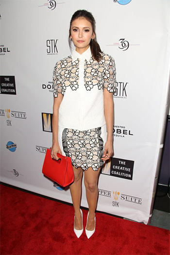 Emanuel Ungaro Cloque & Lace Blouse as seen on Nina Dobrev