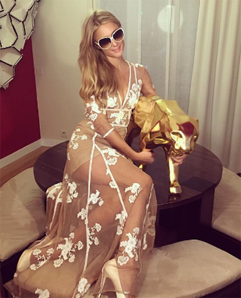 For Love and Lemons Nude Elenora Maxi Dress as seen on Paris Hilton