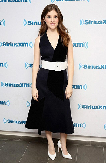 Anna Kendrick, in a Derek Lam Double Face Velvet V-Neck Dress, visits at SiriusXM Studio on June 21, 2016.