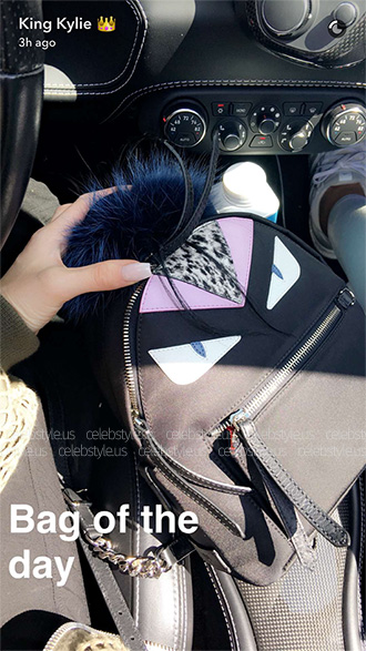 Kylie Jenner's bag of the day on Snapchat - Fendi Bag Bugs Nylon And Fur Mini Backpack