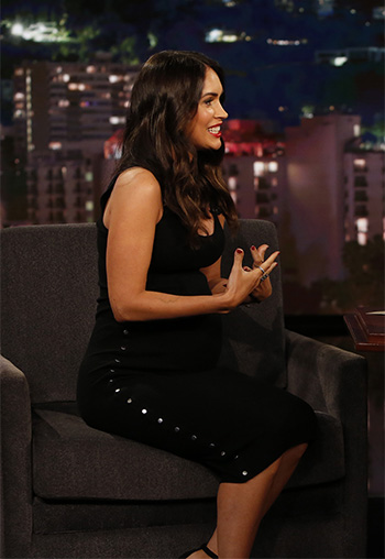 Megan Fox wears a Alexander Wang Press Stud Embellished Dress on Jimmy Kimmel Live on May 31, 2016