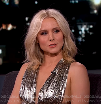 Seen on Jimmy Kimmel Live: Kristen Bell in a Maria Lucia Hohan Farah Draped Lurex Chiffon Bodysuit, July 19 2016.