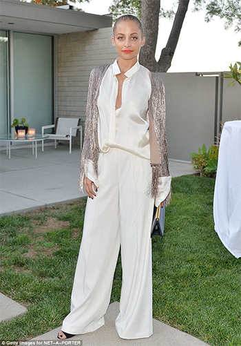Nicole Richie wears Rachel Zoe cardigan and House Of Harlow 1960 x Revolve Charlie Wide Leg Pant to Net-A-Porter's celebration of Rachel Zoe's capsule collection in Los Angeles, CA on July 13, 2016.