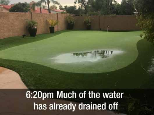 6:20pm much of the water has already drained off