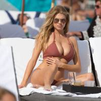 Charlotte McKinney Stills in Bikini at a Beach in Miami