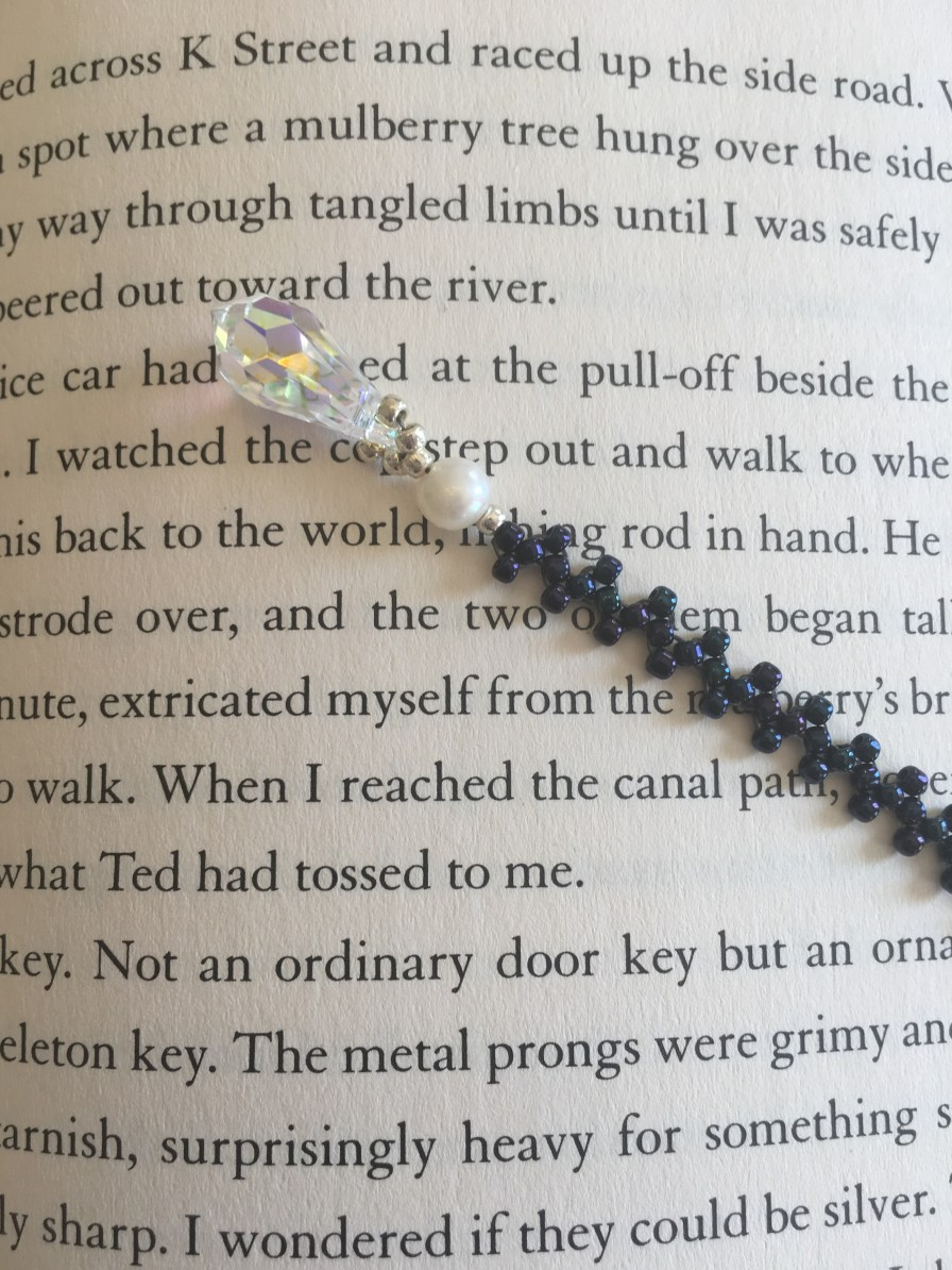 Beaded Bookmark, blue with pearl and crystal_book