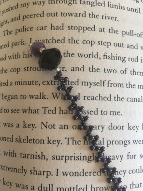 Beaded Bookmark, purple with black and amethyst_book
