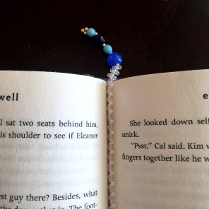Beaded Bookmark, with blue glass beads