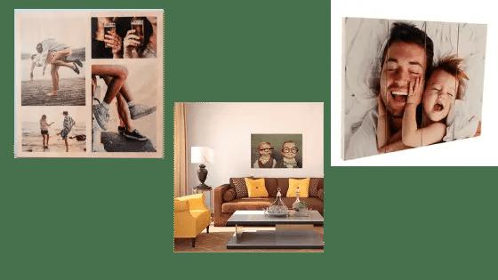 Décoration murale minimaliste avec cadres photos en bois