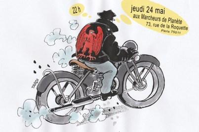 dessin d'un homme à la moto par Tardi