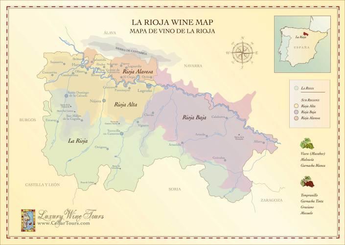 Map of La Rioja wine region