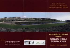 Tríptico (exterior) del ciclo de conferencias 'Aproximación a la realidad comarcal' 2008