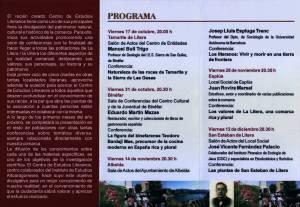 Tríptico (interior) del ciclo de conferencias 'Aproximación a la realidad comarcal' 2008