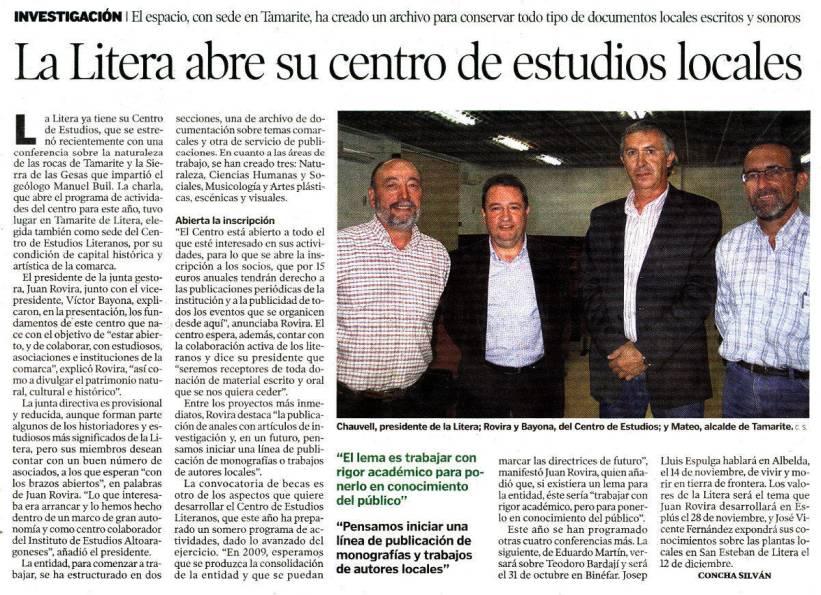 Concha Silván: «La Litera abre su centro de estudios locales», en 'Heraldo Huesca', 23 octubre 2008
