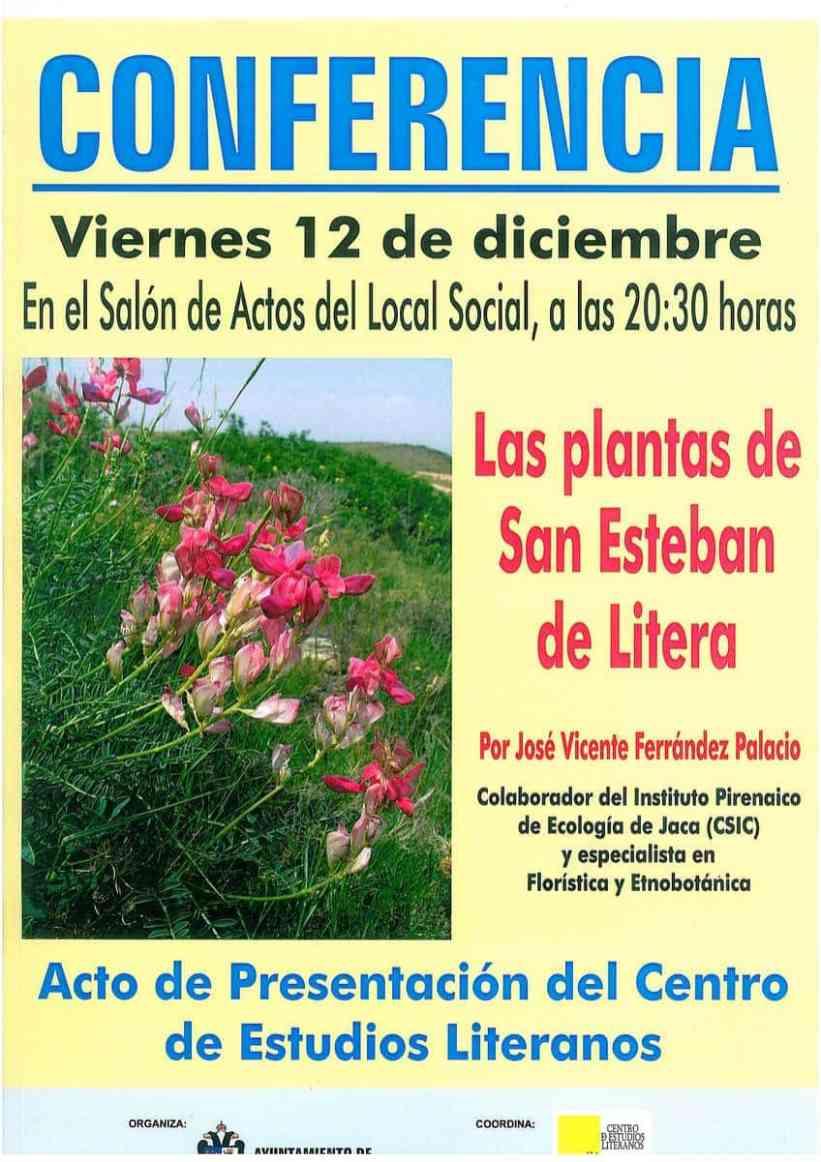 Cartel de la conferencia «Las plantas de San Esteban de Litera»