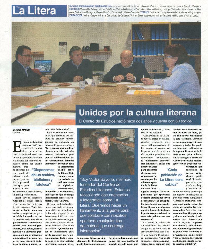 Carlos Marco: «Unidos por la cultura literana», en 'Vivir en La Litera', abril 2011