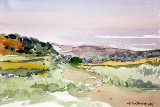 Carretera de Azanuy (acuarela de Fernando Alvira)