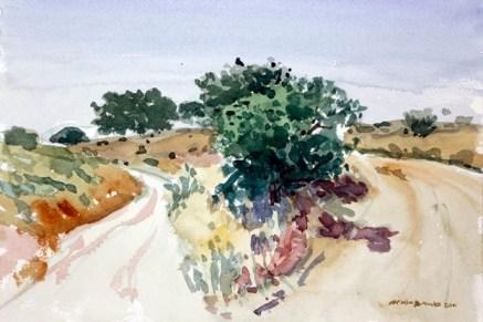 Cruce de caminos (acuarela de Fernando Alvira)