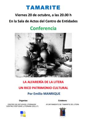 Cartel de la conferencia «La alfarería de la Litera, un rico patrimonio cultural»