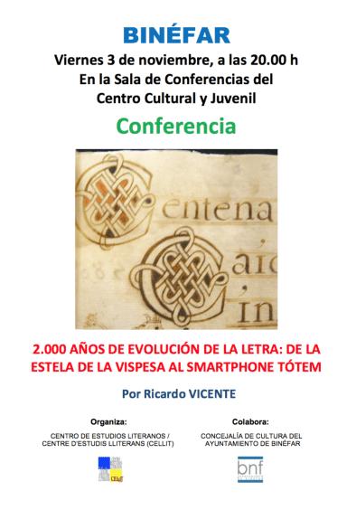 Cartel de la conferencia «2000 años de evolución de la letra»