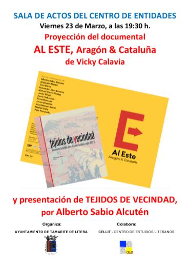 Cartel del acto 'Dicen que hay tierras al Este' en Tamarite de Litera
