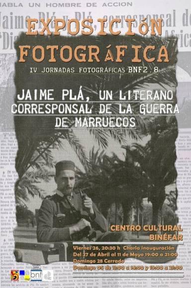 Cartel de la exposición 'Jaime Pla, un literano corresponsal en la guerra de Marruecos' en Binéfar (foto Silvia Isábal)